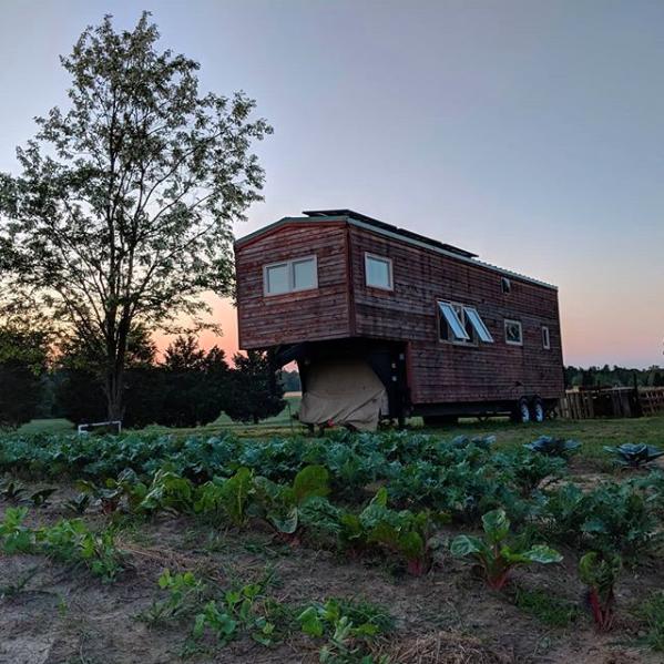 Tiny house at dusk